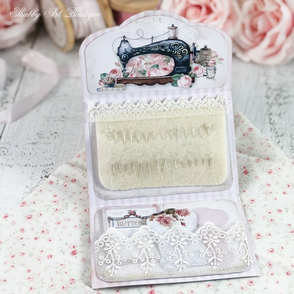 Inside the printable paper needle wallet project from the April kit of the Handmade Club - Shabby Art Boutique
