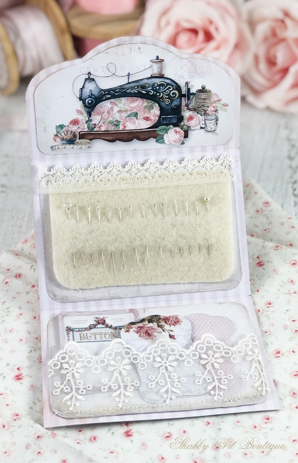 Quick and easy printable project - sweet needle pouch from the April kit in the Handmade Club at Shabby Art Boutique