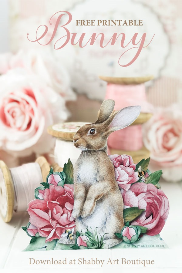This gorgeous spring bunny is free to download from Shabby Art Boutique