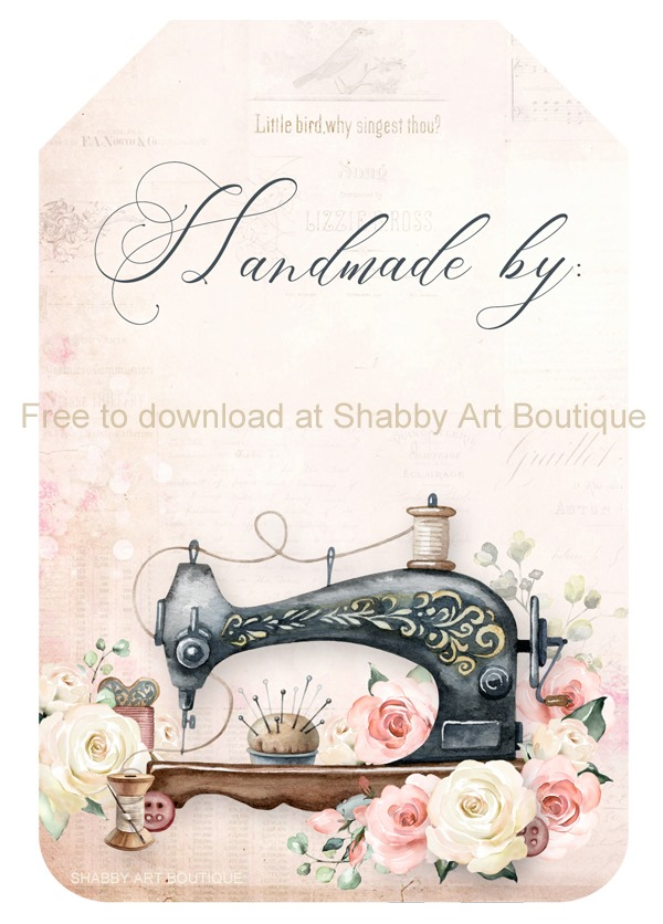 This set of printable tags for handmade projects are free to download from Shabby Art Boutique