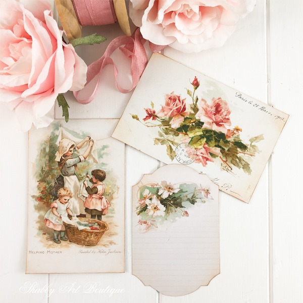 A Year of Vintage Postcards project - May free postcard printables from Shabby Art Boutique