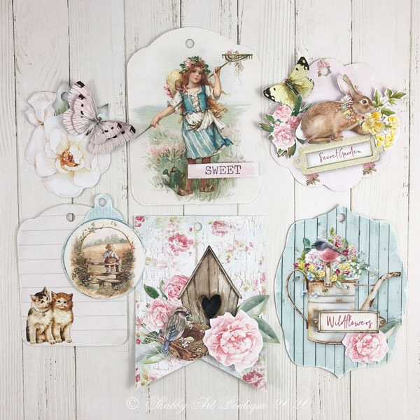 Gorgeous 3 D tags included in the shabby cottage garden flip tag - printable project from the May Handmade Club at Shabby Art Boutique