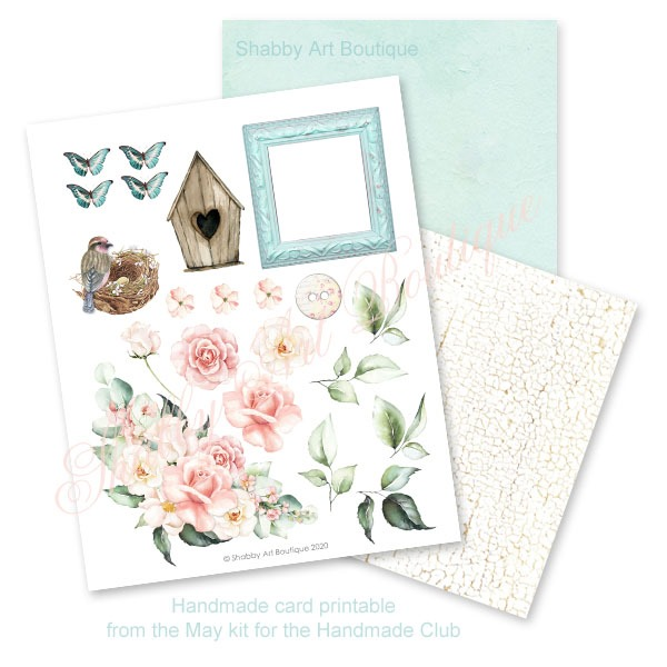 Handmade card printable from the May kit for the Handmade Club by Shabby Art Boutique