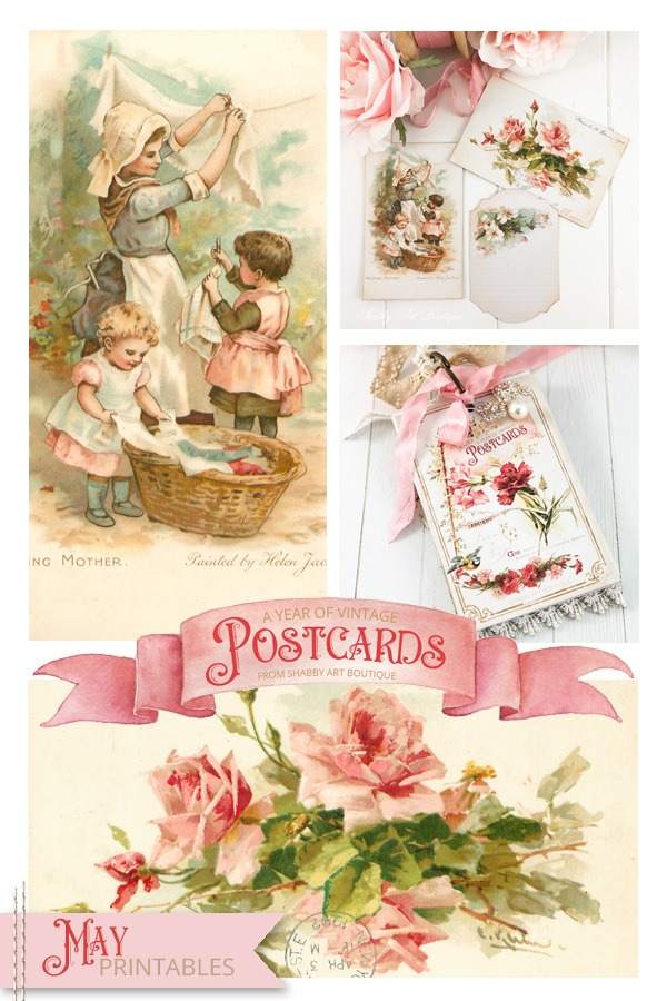 May free vintage postard printables for A Year of Vintage Postcards project by Shabby Art Boutique