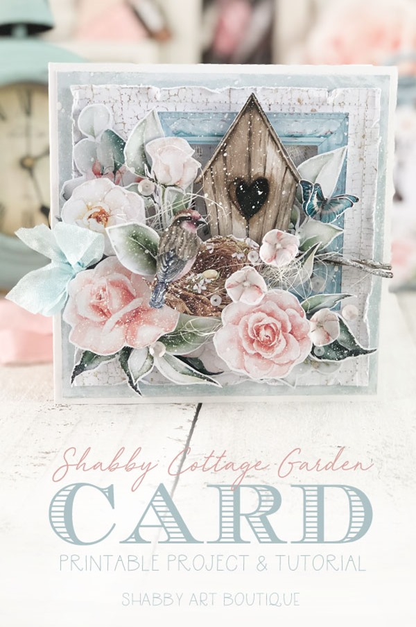 Shabby Cottage Garden card project from the May kit of the Handmade Club for Shabby Art Boutique