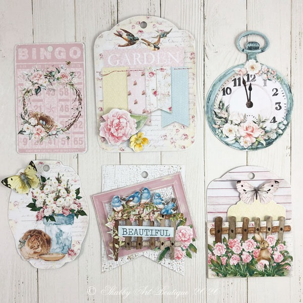 Some of the gorgeous 3 D tags included in the shabby cottage garden flip tag - printable project from the May Handmade Club at Shabby Art Boutique