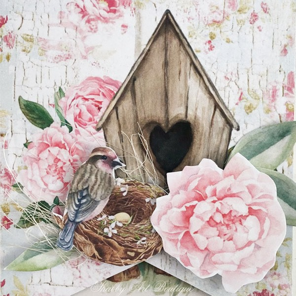The bird house and newst tag from the shabby cottage garden flip tag project - May Handmade Club for Shabby Art Boutique