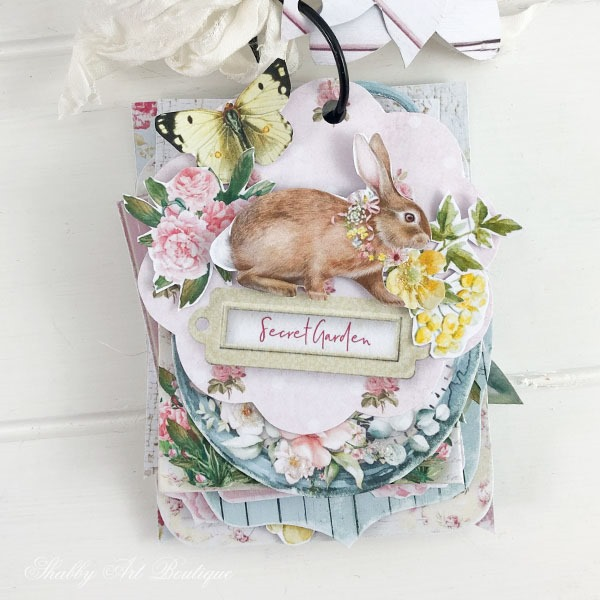 The sweet little bunny tag from the shabby cottage garden flip tag project - May kit Handmade Club for the Shabby Art Boutique
