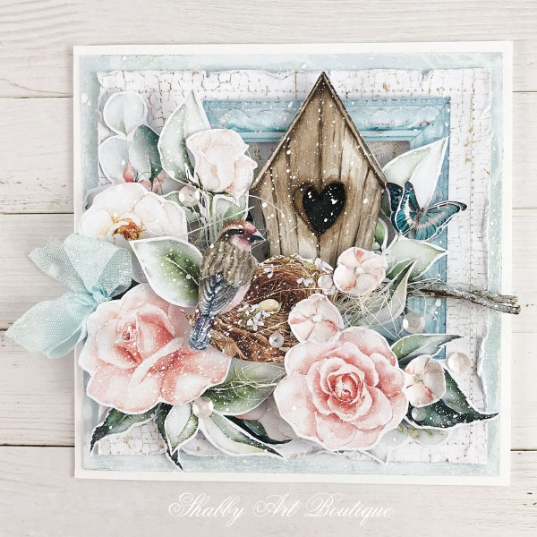 Tutorial for making the shabby cottage garden card - step 10 - Shabby Art Boutique