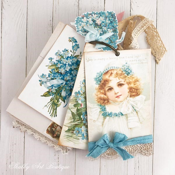Free printable postcards for June - A Year of Vintage Postcards projects for Shabby Art Boutique