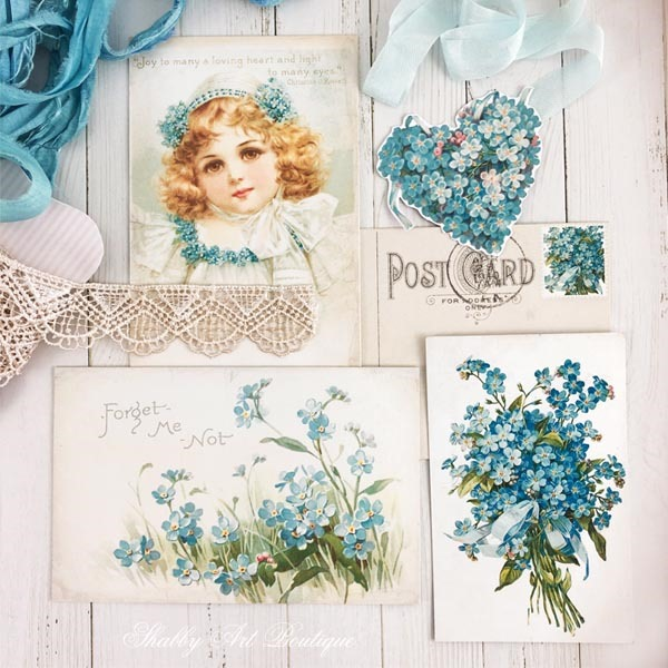 Free printable postcards from the A Year of Vintage Postcards projects for Shabby Art Boutique - June postcards