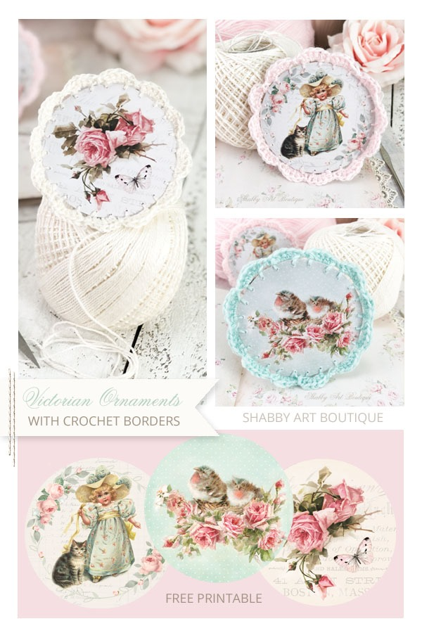 How to make Victorian Ornaments with a crochet border plus free printable ornaments from Shabby Art Boutique