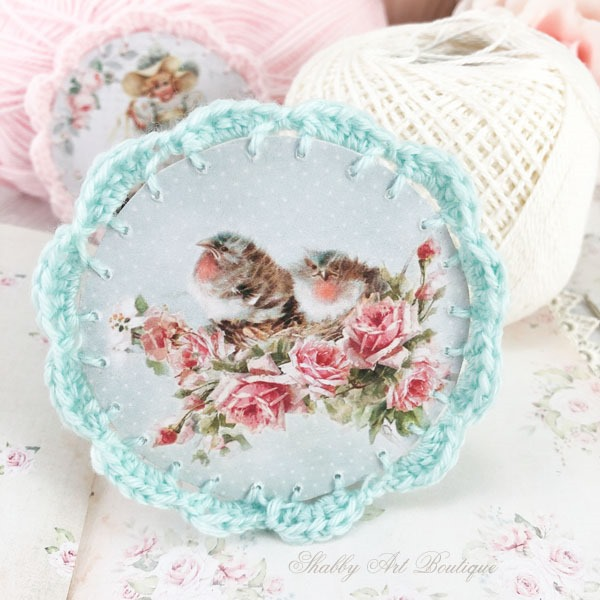 How to make these beautiful Victorian Ornaments with crochet borders by Shabby Art Boutique - aqua