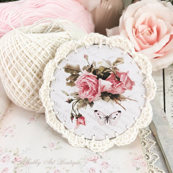How to make these beautiful Victorian Ornaments with crochet borders by Shabby Art Boutique - cream