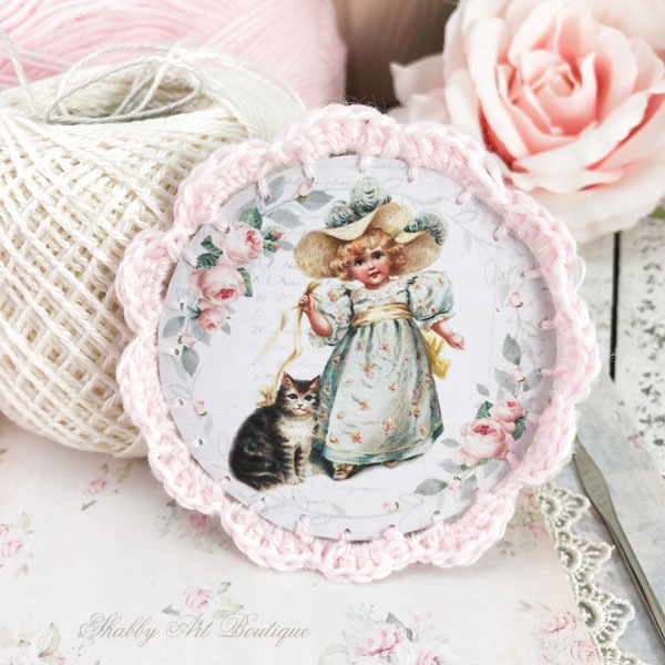 How to make these beautiful Victorian Ornaments with crochet borders by Shabby Art Boutique - pink