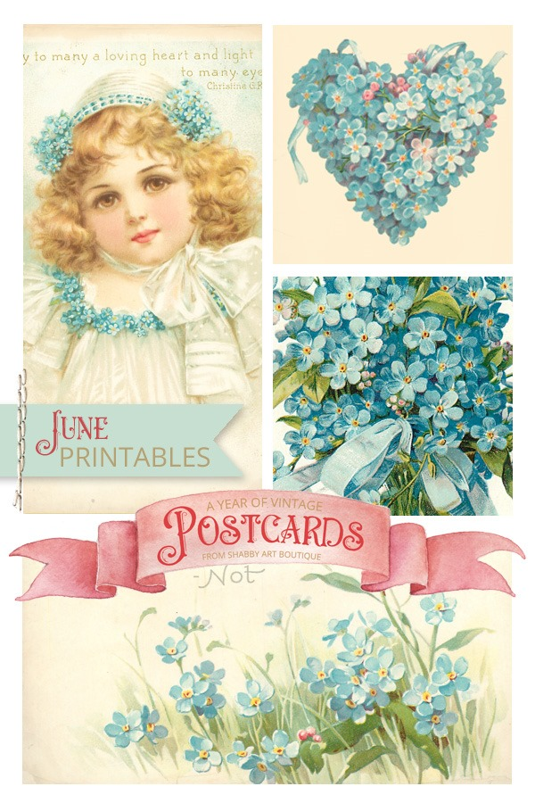 June free vintage printable postcards for A Year of Vintage Postcards project by Shabby Art Boutique