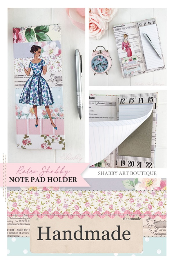 DIY retro shabby note pad holder tutorial from Shabby Art Boutique