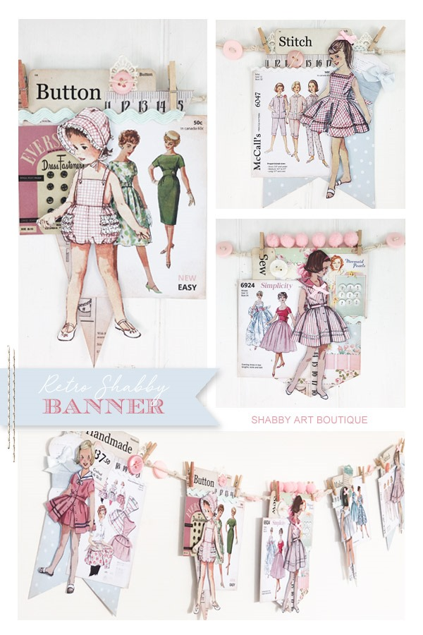 How to make a retro shabby banner from the July kit of the Handmade Club - Shabby Art Boutique