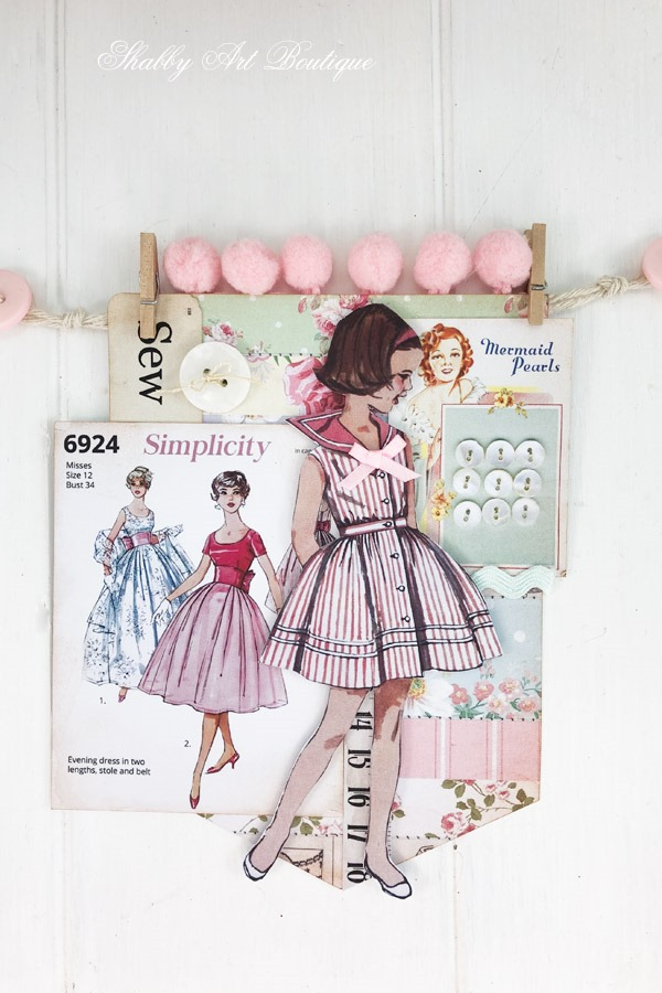 How to make a retro shabby banner using the July kit from the Handmade Club at Shabby Art Boutique - banner 3