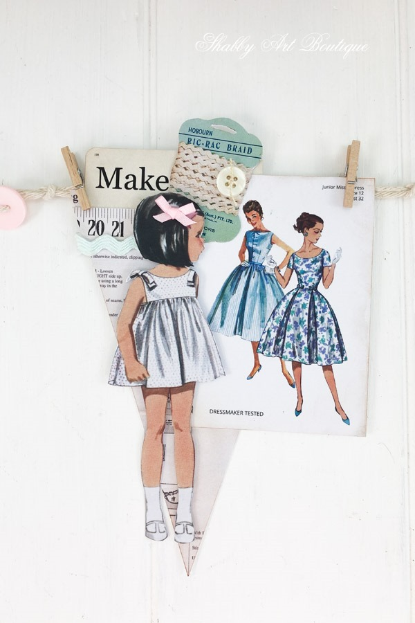 How to make a retro shabby banner using the July kit from the Handmade Club at Shabby Art Boutique - banner 4