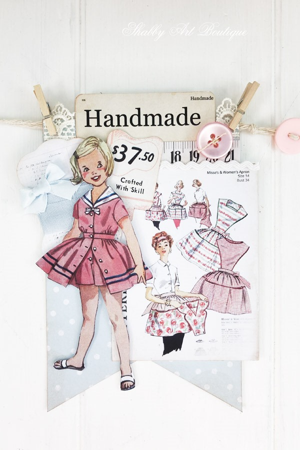 How to make a retro shabby banner using the July kit from the Handmade Club at Shabby Art Boutique - banner 5