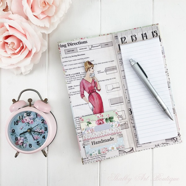 How to make a retro shabby note book holder by Shabby Art Boutique - inside