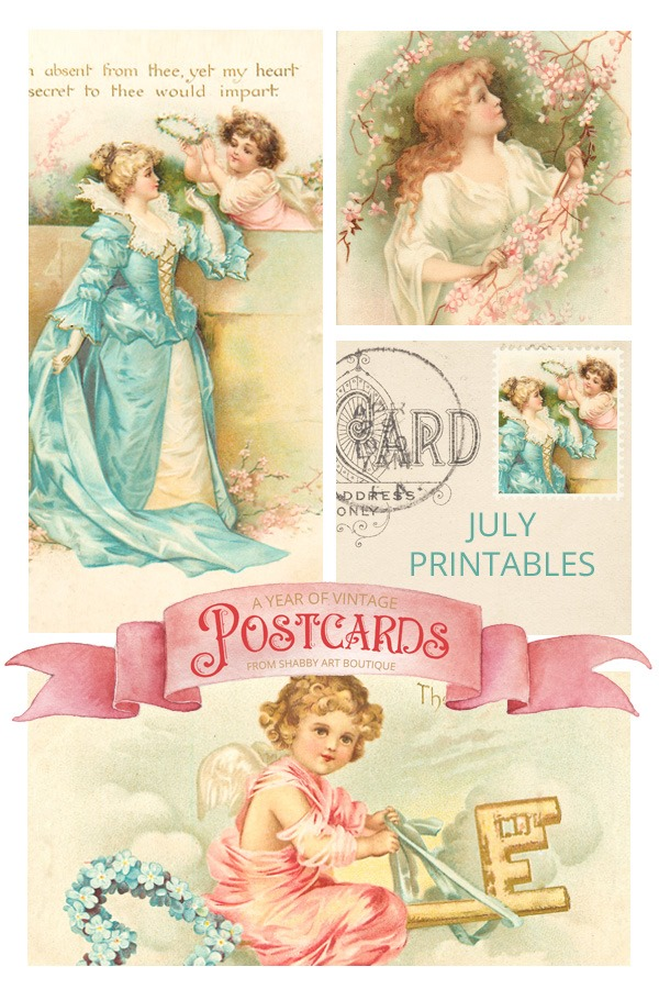 July free vintage printable postcards for A Year of Vintage Postcards project by Shabby Art Boutique