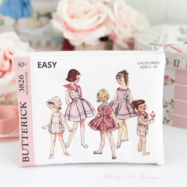 Make this adorable vintage sewing pattern pouch with the July kit from the Handmade Club at Shabby Art Boutique