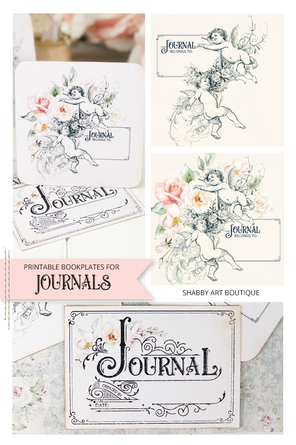 Printable vintage bookplates for journals - free download at Shabby Art Boutique