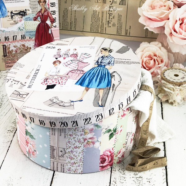 Printable vintage wallpaper crafting hat box DIY with vintage sewing pattern lid - July Handmade Club at Shabby Art Boutique
