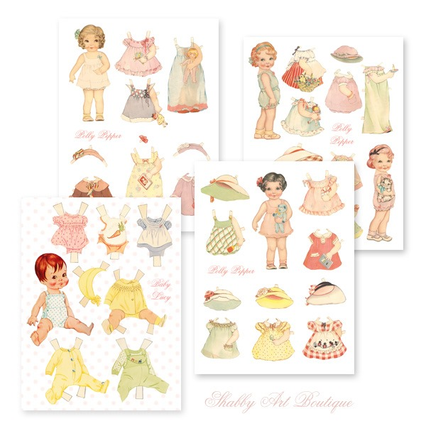 Retro Sewing kit for the Juky Handmade Club - sweet vintage paper dolls - Shabby Art Boutique
