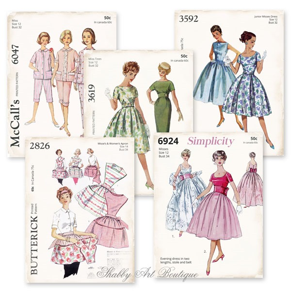 Retro Shabby Sewing Pattern printables from the July kit for the Handmade Club at Shabby Art Boutique