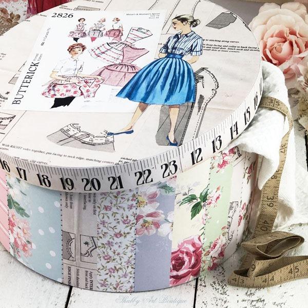 Retro Shabby hat box project using the Retro Shabby kit from the Handmade Club - Shabby Art Boutique