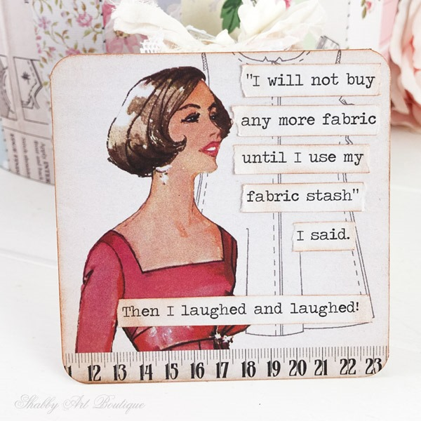 Retro crafting quotes project using the Retro Shabby kit from the Handmade Club - Shabby Art Boutique