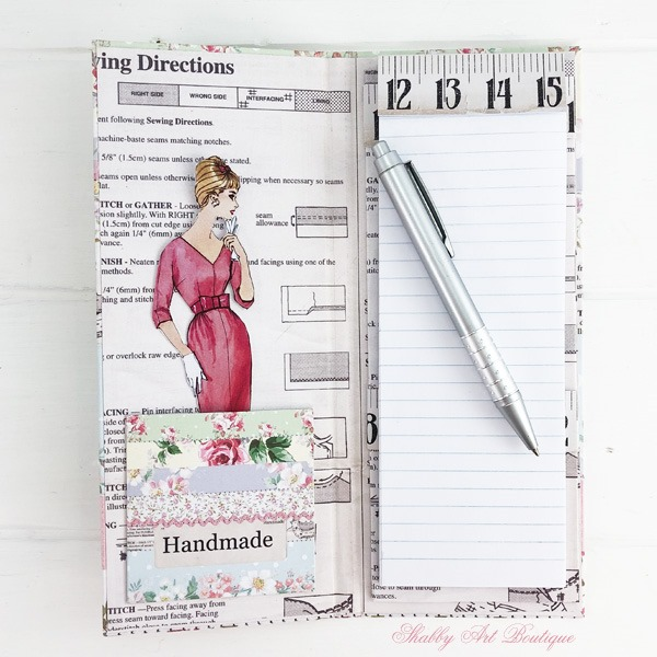 Tutorial for making the retro shabby note pad holder by Shabby Art Boutique - finished note pad holder inside