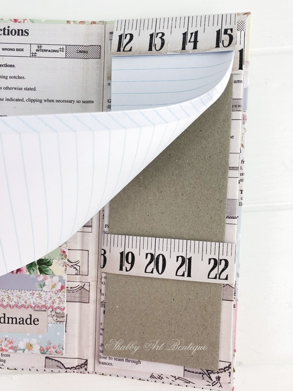 Tutorial for making the retro shabby note pad holder by Shabby Art Boutique - insert note pad