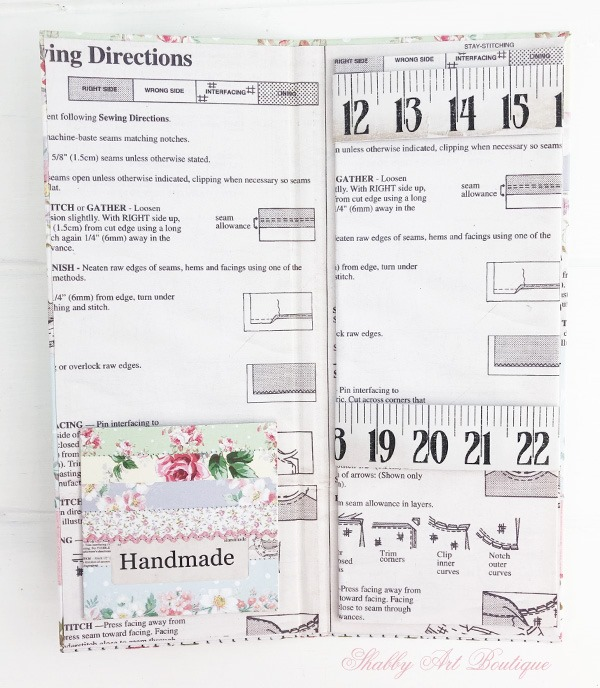 Tutorial for making the retro shabby note pad holder by Shabby Art Boutique - note insert and pocket