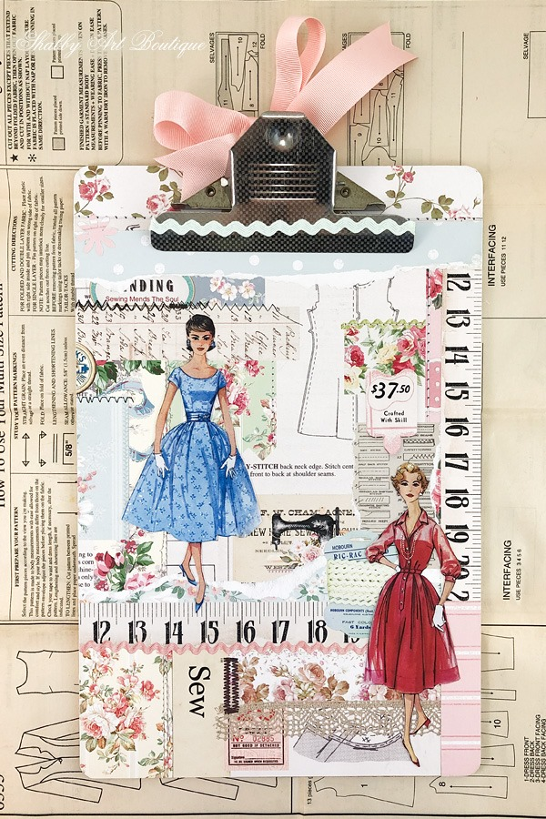 Vintage Sewing Clip Board altered art using the July Handmade Club kit from Shabby Art Boutique