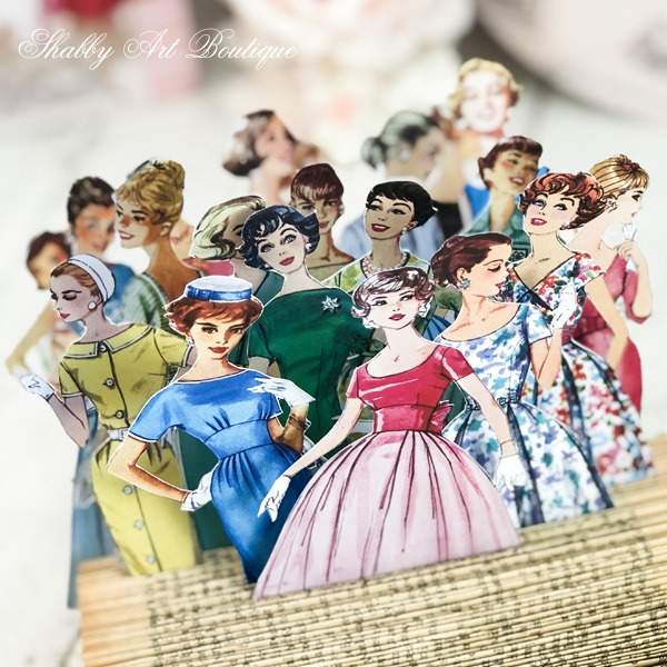 Vintage fashion lady cut-outs from the July Retro Shabby kit for the Handmade Club at Shabby Art Boutique