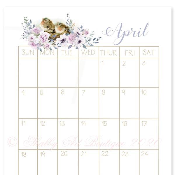 Free Printable 2021 Vintage Calendar - Shabby Art Boutique