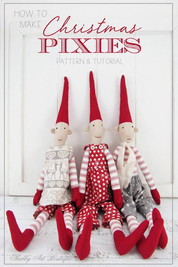 Pattern and tutorial for making Christmas Pixies at Shabby Art Boutique