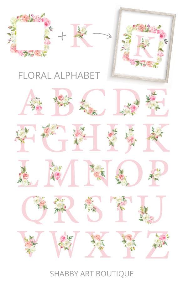 Spring Fair kit for the March Handmade Club - Floral Alphabet - Shabby Art Boutique