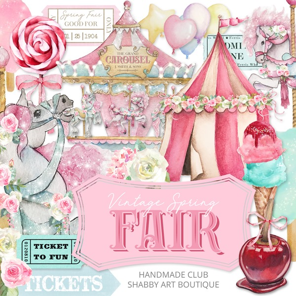 Vintage Spring Fair kit for the March Handmade Club at Shabby Art Boutique